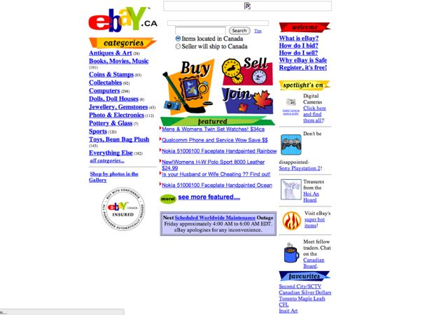Ebay.ca Visual 2001