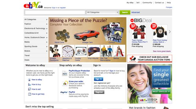 Ebay.ca Visual 2001