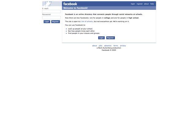 Facebook.com Visual 2001