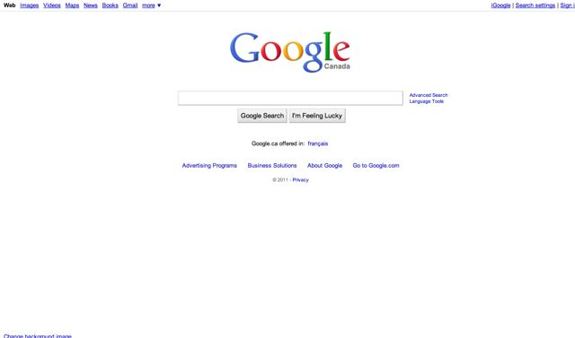 Google.ca Visual 2001