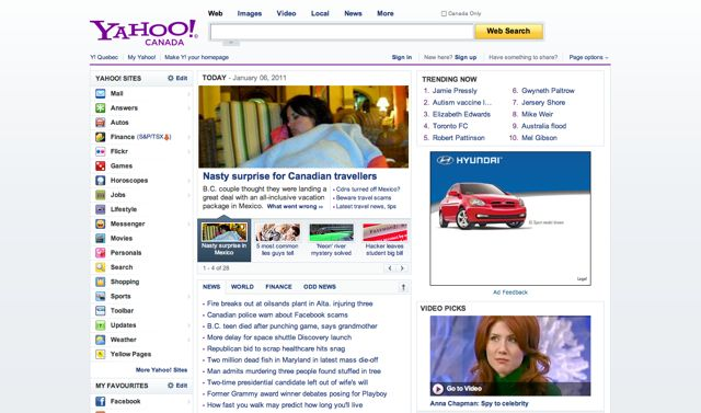 Yahoo.ca Visual 2001