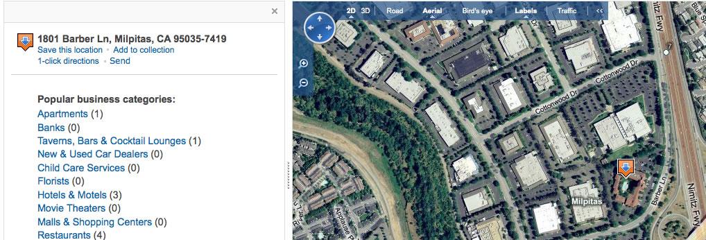 Bing Maps Correct - 1801 Barber Lane, Milpitas, CA