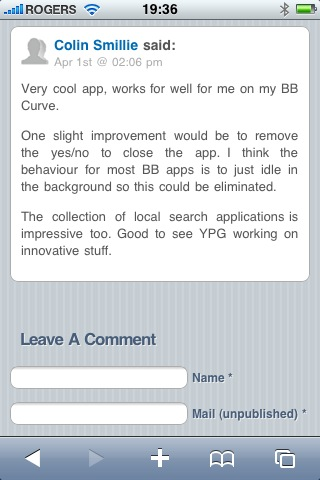 Darby Sieben iPhone Blog Comments