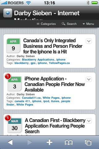 Darby Sieben Home Page iPhone