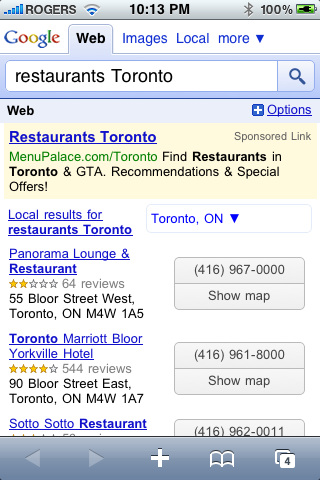 Google Web - Restaurants Toronto Search