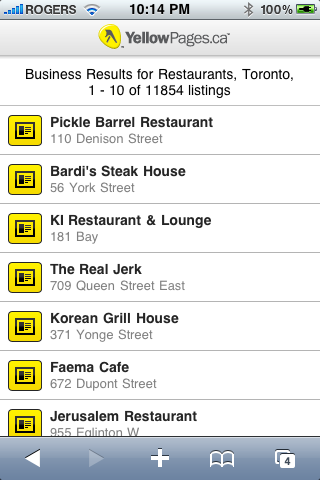 YellowPages.ca - Restaurants Toronto Search