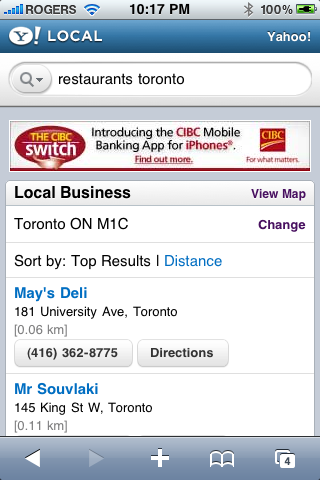 Yahoo - Restaurant Toronto Search