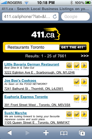411.ca Mobile Web - Restaurants Toronto
