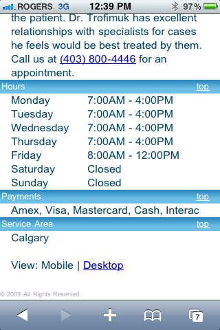 Optimum Dentistry Mobile Enhanced Hours of Operations Page