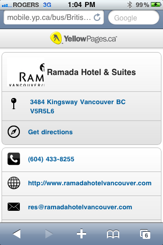 Ramada Inn and Suites in Vancouver on YellowPages.ca Mobile