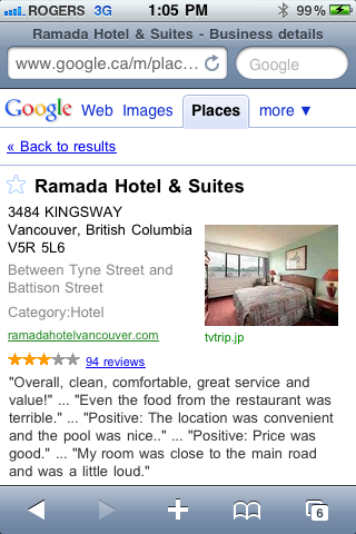 Ramada Inn and Suites in Vancouver on Google Mobile