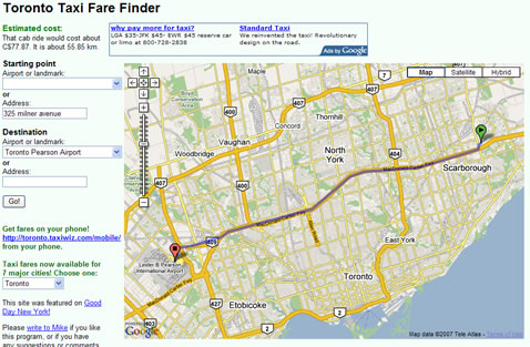 Toronto Taxi Finder