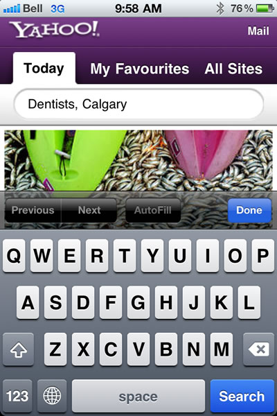 Yahoo Mobile Search for Dentists in Calgary