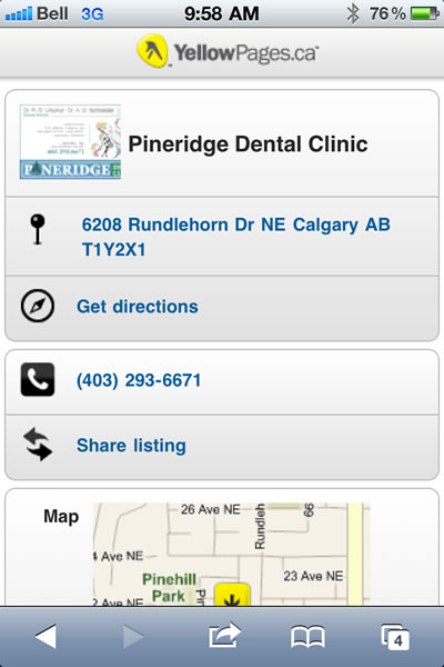 Mobile YellowPages.ca Page for Pineridge Dental Clinic