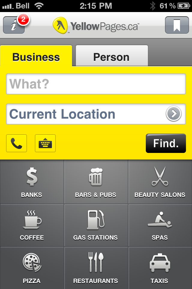 YellowPages.ca iPhone Application 2011