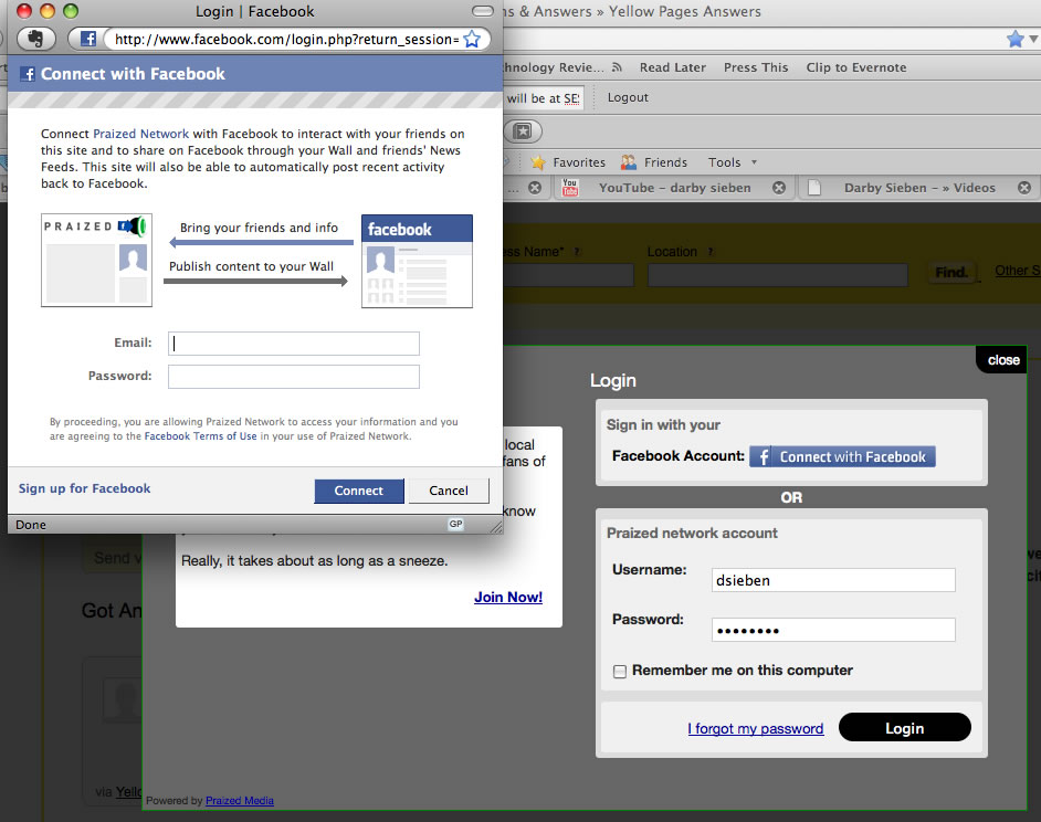 Yellow Pages Answers Facebook Connect Login