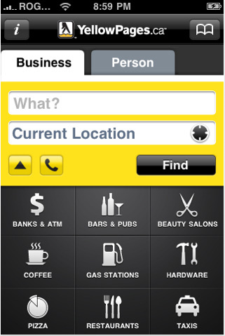YellowPages.ca Mobile Application on itunes