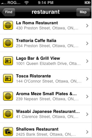 YellowPages.ca iPhone Application 2010 Search Results Page