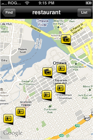 YellowPages.ca Application Map View
