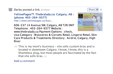 YellowPages.ca Inside of Facebook