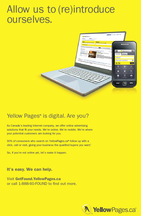 Yellow Pages Group - Let Us ReIntroduce Ourselves as Canada's Largest Internet Company