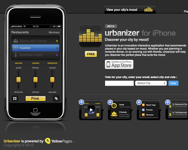 Urbanizer for the iPhone - Mood Based Search