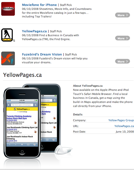 YellowPages.ca Web App for iPhone