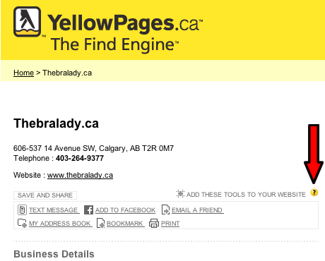 Save and Share Widget from YellowPages.ca