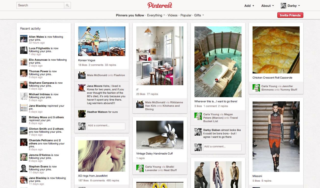 Darby Sieben's Pinterest Home Page