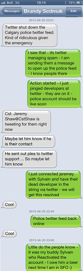 Text message string between my wife and I regarding the Calgary Police Twitter Feed