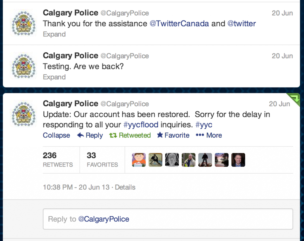 Account Re-Activated thanks from the Calgary Police (although they thanked the wrong account)